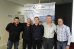 Vinícius A. Ribeiro (LS SIST. ILUMINAÇÃO, Pedro Ferrapontoff (parceiro SKYLUX), Daniel Segato (PHILIPS), Adalberto (THIEL) e Cássio Pissetti (ENGEPOLI)