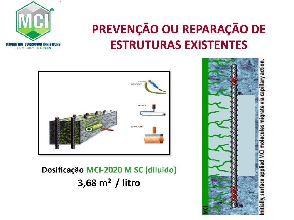MCI 2020 MSC: Aplicado na superfície do concreto endurecido para proteção da armadura