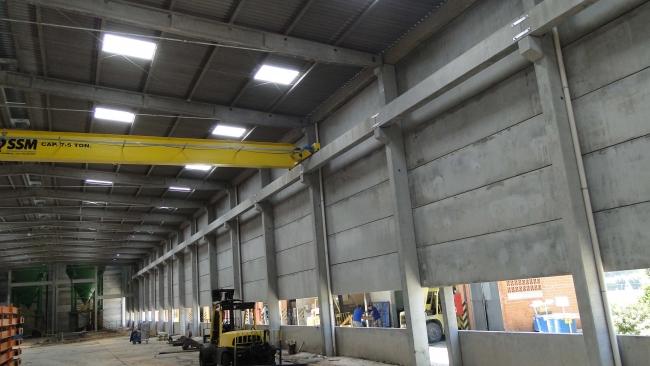 Vista interna das placas de concreto